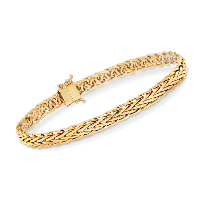 """18kt Yellow Gold Wheat-Link Bracelet with Magnetic Clasp. 7"""", , default"""