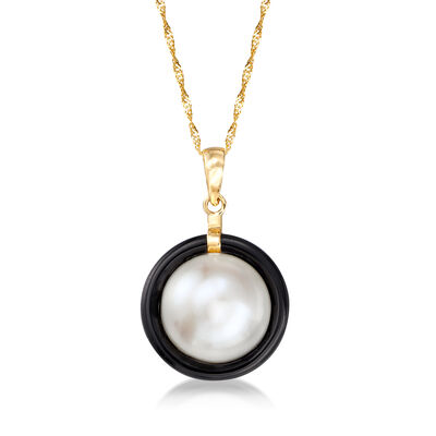 12mm Cultured Pearl and 16mm Black Onyx Bezel-Set Pendant Necklace in 14kt Yellow Gold, , default