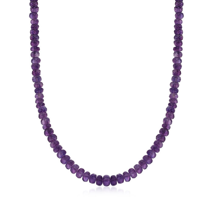 Amethyst Bead Necklace with Sterling Silver