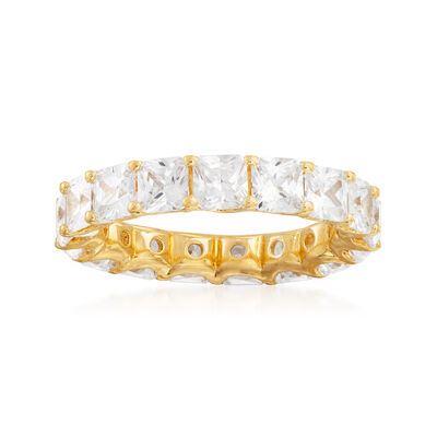 4.25 ct. t.w. CZ Eternity Band in 18kt Gold Over Sterling