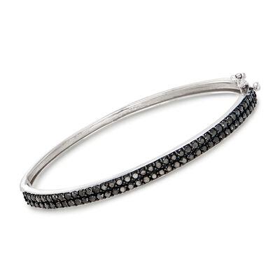 2.00 ct. t.w. Black Diamond Bangle Bracelet in 14kt White Gold, , default