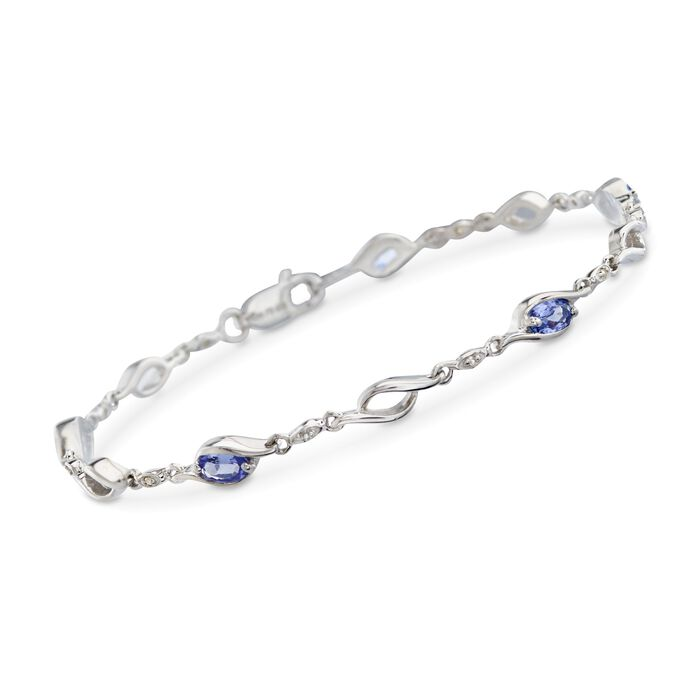 """1.20 ct. t.w. Tanzanite Swirl Link Bracelet with White Topaz Accents in Sterling Silver. 7.25"""", , default"""