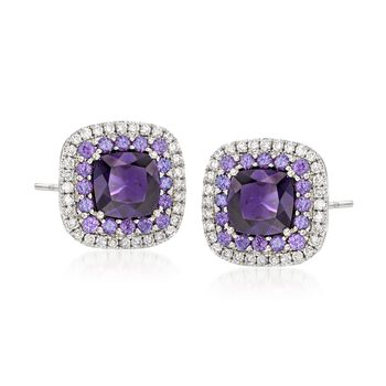 Gregg Ruth 2.19 ct. t.w. Amethyst and .31 ct. t.w. Diamond Earrings in 18kt White Gold, , default