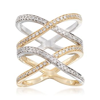 .50 ct. t.w. Diamond Double X Open-Space Ring in 14kt Two-Tone Gold. Size 7, , default