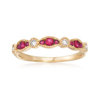 .17 ct. t.w. Ruby and .11 ct. t.w. Diamond Ring in 14kt Yellow Gold, , default