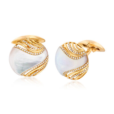 .35 ct. t.w. Diamond and Mother-Of-Pearl Cuff Links in 14kt Yellow Gold, , default