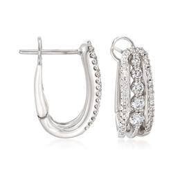 "Simon G. .65 ct. t.w. Diamond Hoop Earrings in 18kt White Gold. 5/8"", , default"
