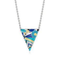 "Belle Etoile ""Constellations: Nairobi"" Turquoise-Blue Triangle Necklace With CZ Accents in Sterling Silver, , default"
