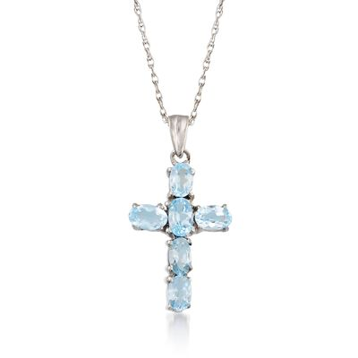 1.60 ct. t.w. Blue Topaz Cross Pendant Necklace in Sterling Silver, , default