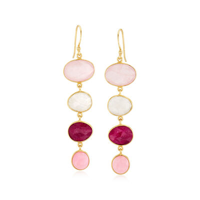 Multi-Gemstone Drop Earrings in 18kt Gold Over Sterling, , default