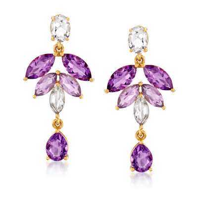 7.20 ct. t.w. Amethyst and 3.10 ct. t.w. White Topaz Leaf Drop Earrings in 18kt Gold Over Sterling, , default