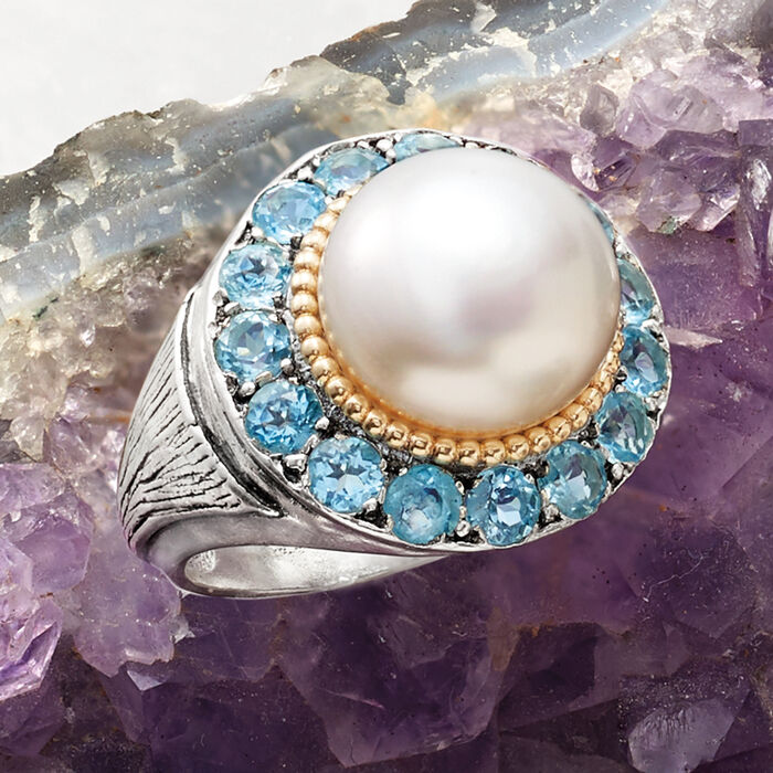 11-12mm Cultured Pearl and 3.00 ct. t.w. Blue Topaz Ring in Sterling Silver and 14kt Yellow Gold