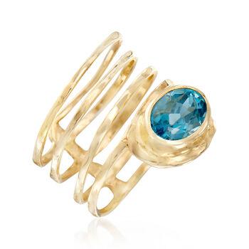 3.00 Carat Blue Topaz Spiral Ring in 14kt Yellow Gold, , default