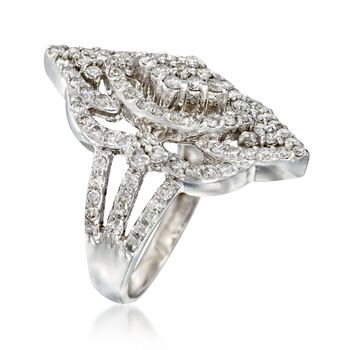 C. 1990 Vintage 1.00 ct. t.w. Diamond Navette Ring in 14kt White Gold. Size 6.25, , default