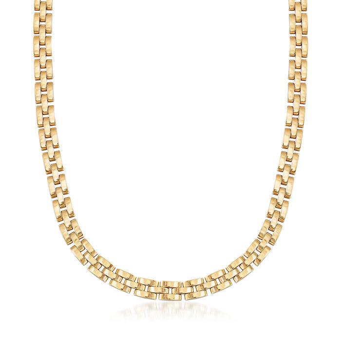 "C. 1980 Vintage Cartier 18kt Yellow Gold Panther-Link Necklace. 16"", , default"