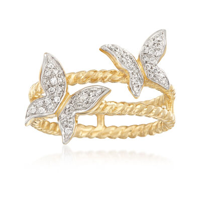 .20 ct. t.w. Diamond Butterfly Ring in 14kt Yellow Gold, , default