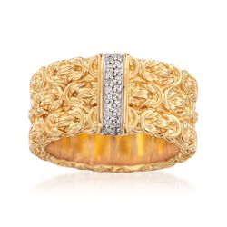 18kt Yellow Gold Over Sterling Silver Byzantine Ring With Diamond Accents, , default