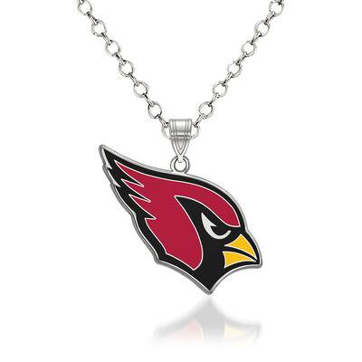 "Sterling Silver NFL Arizona Cardinals Enamel Pendant Necklace. 18"""