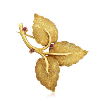 C. 1960 Vintage Tiffany Jewelry .18 ct. t.w. Ruby Leaf Pin in 18kt Yellow Gold, , default