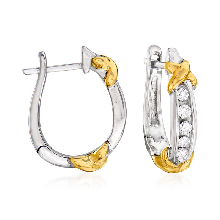 """.25 ct. t.w. Diamond X Hoop Earrings in Sterling Silver and 14kt Yellow Gold. 5/8"""""""