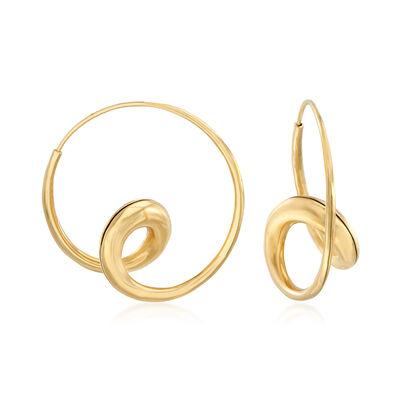 C. 1990 Vintage 18kt Yellow Gold Double-Loop Hoop Earrings , , default