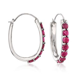 4.20 ct. t.w. Ruby Hoop Earrings in Sterling Silver, , default