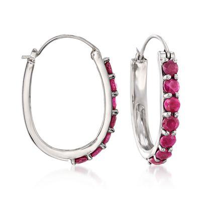 4.20 ct. t.w. Ruby Hoop Earrings in Sterling Silver, , default