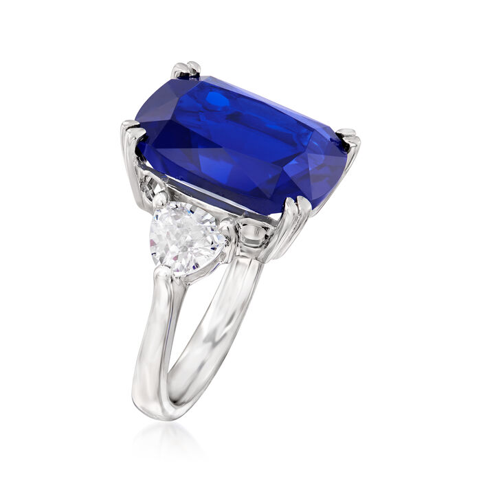 12.25 Carat Cushion-Cut Simulated Sapphire and 1.75 ct. t.w. CZ Ring in Sterling Silver
