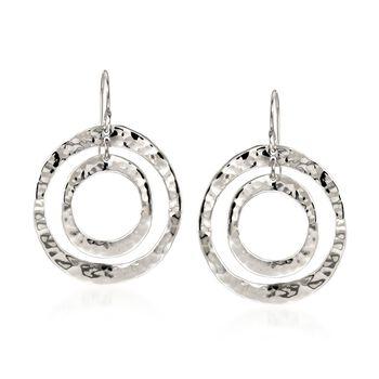 "Zina Sterling Silver ""Sahara"" Double Circle Drop Earrings, , default"