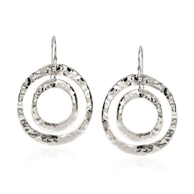 "Zina Sterling Silver ""Sahara"" Double Circle Drop Earrings, , default"