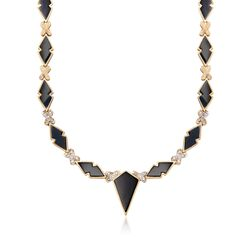 "C. 1960 Vintage Black Onyx and .55 ct. t.w. Diamond Necklace in 14kt Yellow Gold. 18.5"", , default"
