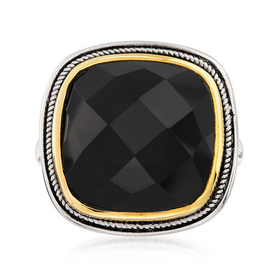 Black Agate Ring in Sterling Silver with 14kt Gold