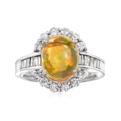 C. 1990 Vintage Orange Opal and .82 ct. t.w. Diamond Ring in Platinum