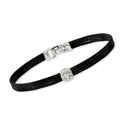 "ALOR ""Noir"" Black Cable Bracelet with Diamond Accent and 18kt White Gold, , default"