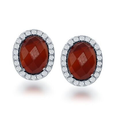 Carnelian and .44 ct. t.w. CZ Earrings in Sterling Silver, , default
