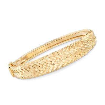Italian Diamond-Cut Chevron Bangle Bracelet in 18kt Yellow Gold, , default