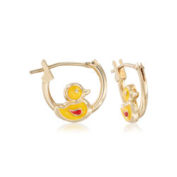 Child's 14kt Yellow Gold Duckling Huggie Hoop Earrings With Enamel, , default