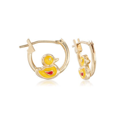 Child's 14kt Yellow Gold Duckling Huggie Hoop Earrings with Enamel, , default