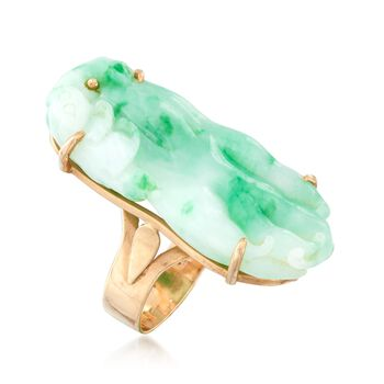 C. 1960 Vintage Carved Jade Bird Ring in 14kt Yellow Gold. Size 7.5, , default