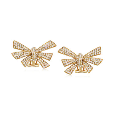 1.20 ct. t.w. Diamond Bow Earrings in 18kt Yellow Gold, , default