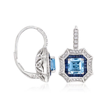 2.30 ct. t.w. Multi-Gemstone and .34 ct. t.w. Diamond Drop Earrings in 14kt White Gold, , default