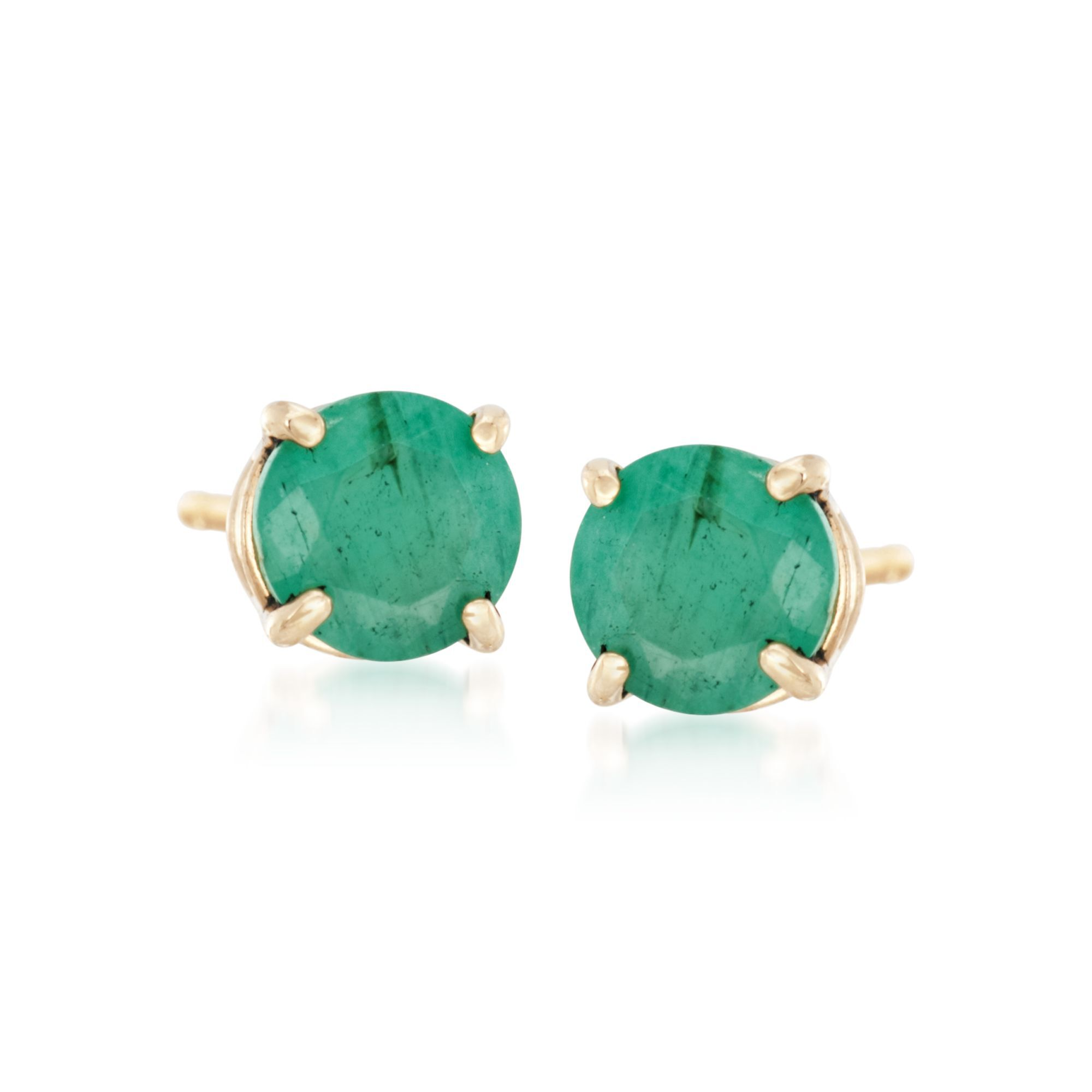 1.00 Ct Emerald Cut Green Emerald Four Prong Stud Earrings 14K Yellow Gold Over