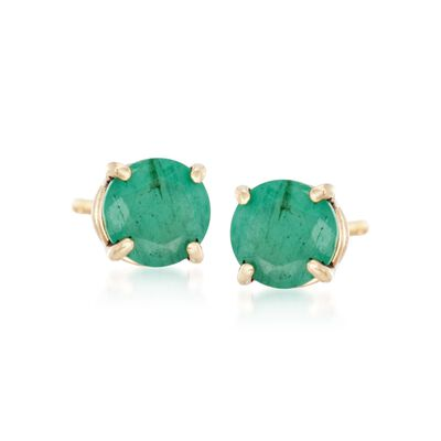 .50 ct. t.w. Round Emerald Stud Earrings in 14kt Yellow Gold, , default