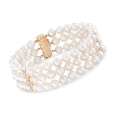6-6.5mm Cultured Pearl Three-Row Bracelet with 14kt Yellow Gold, , default