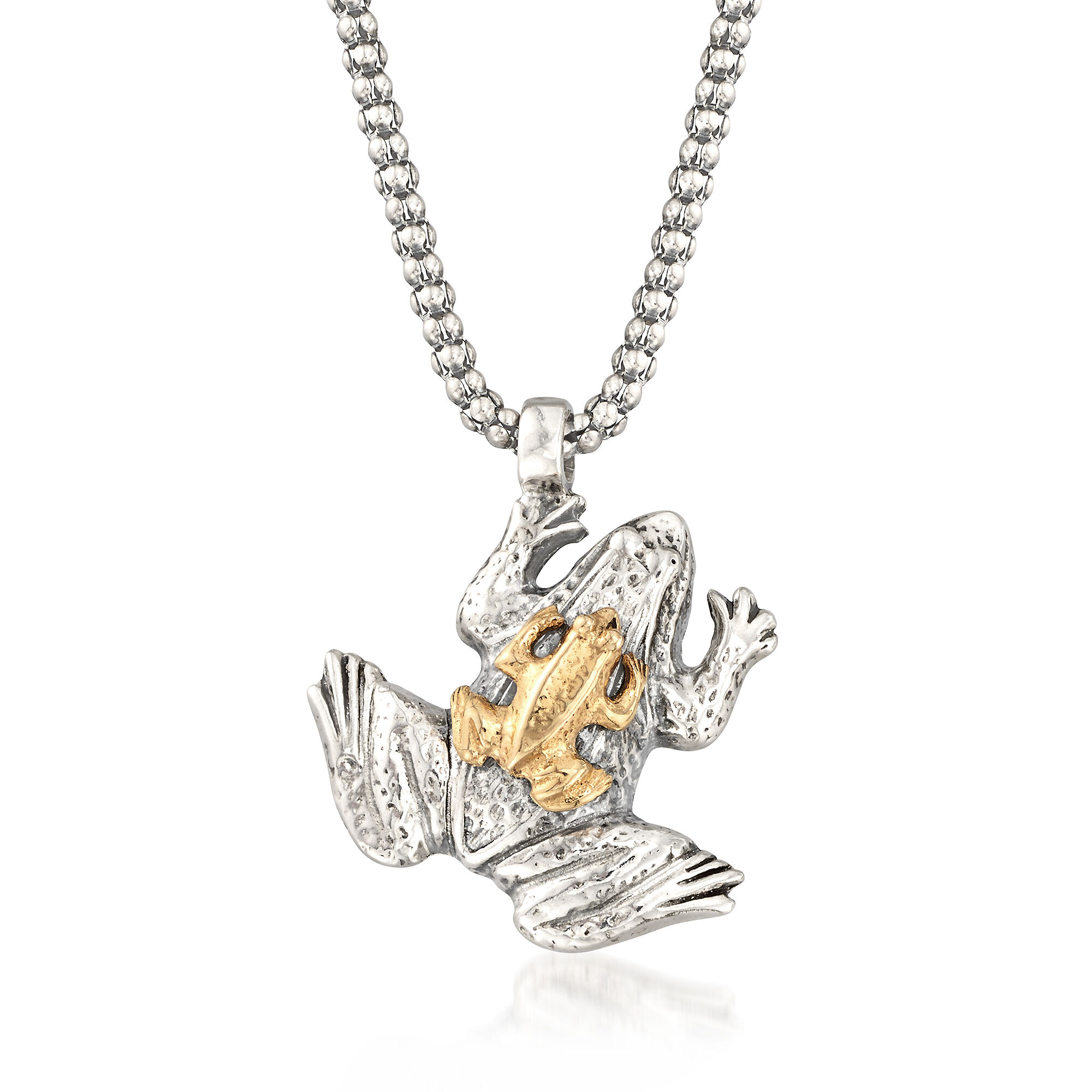 Sterling Silver Textured Frog Pendant