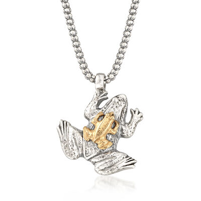 Sterling Silver and 14kt Yellow Gold Frog Pendant Necklace, , default