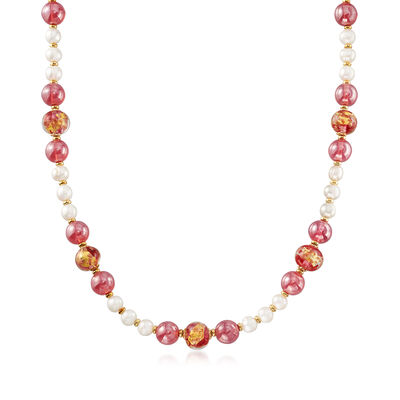 Italian 6-7mm Cultured Pearl and Multicolored Murano Glass Bead Necklace in 18kt Gold Over Sterling