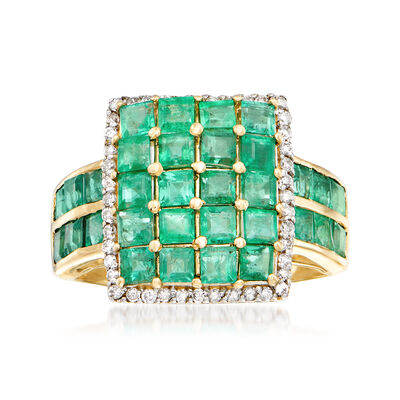 3.50 ct. t.w. Emerald and .22 ct. t.w. Diamond Ring in 14kt Yellow Gold, , default