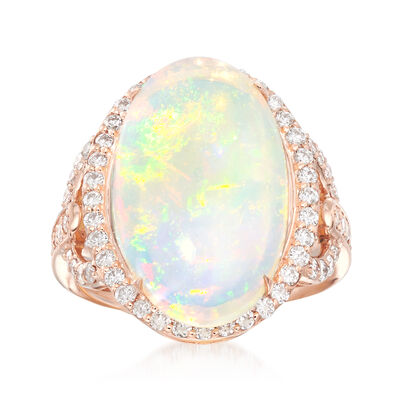 Oval Cabochon Opal and .80 ct. t.w. Diamond Ring in 14kt Rose Gold, , default