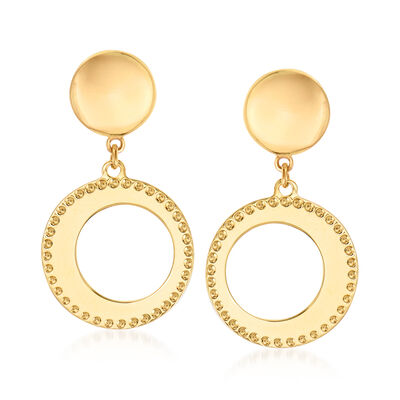 Italian 14kt Yellow Gold Open Circle Drop Earrings